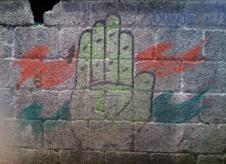 Fading Indian National Congress Symbol on a Wall
