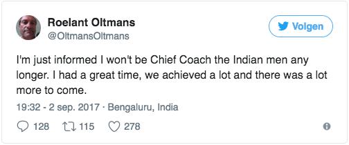 Roelant Oltmans Sacked as Head Coach of Indian Hockey Team Tweet