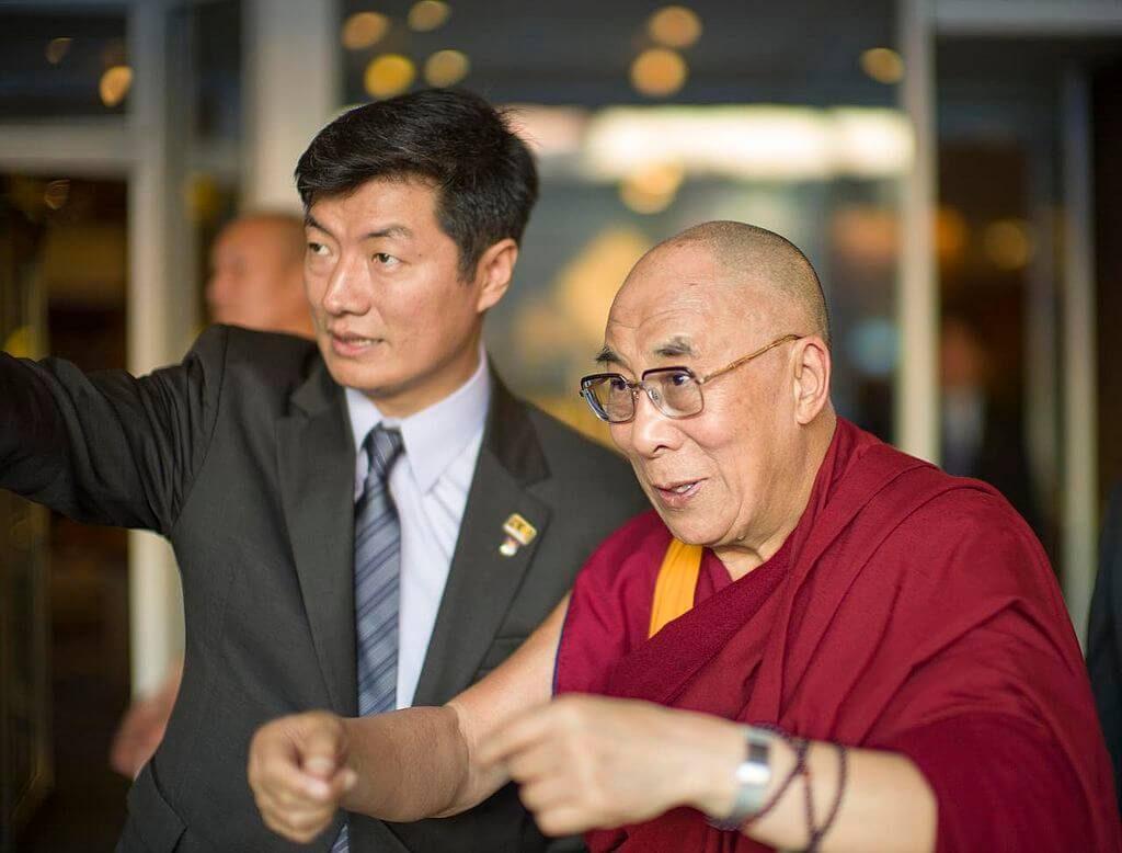 The Dalai Lama and Lobsang Sangay (L) at Boston.