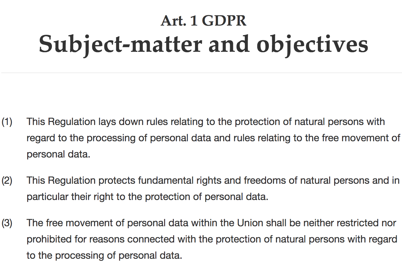 Article 1 of GDPR