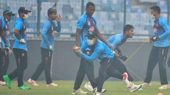 Bangladesh athletes training with masks in the run-up to the match